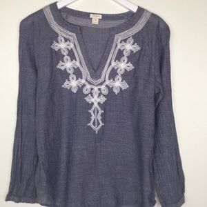 J. CREW FACTORY Gray White Embroidered Top Size XS